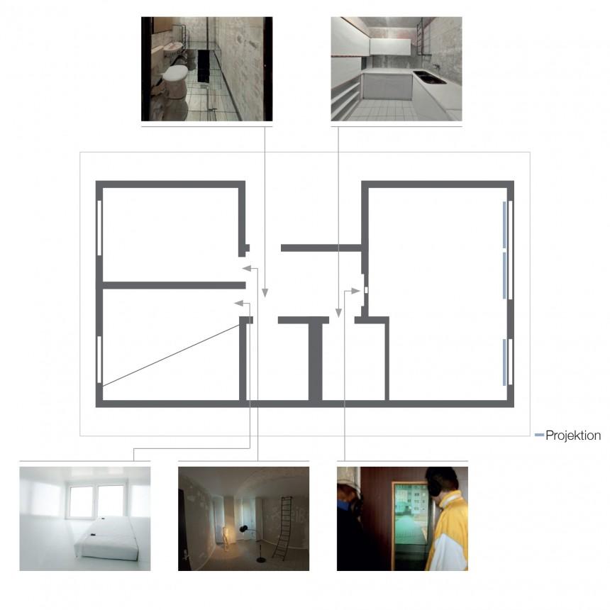 Grundriss Wohnrauminstallation »Wohnungsreisen«