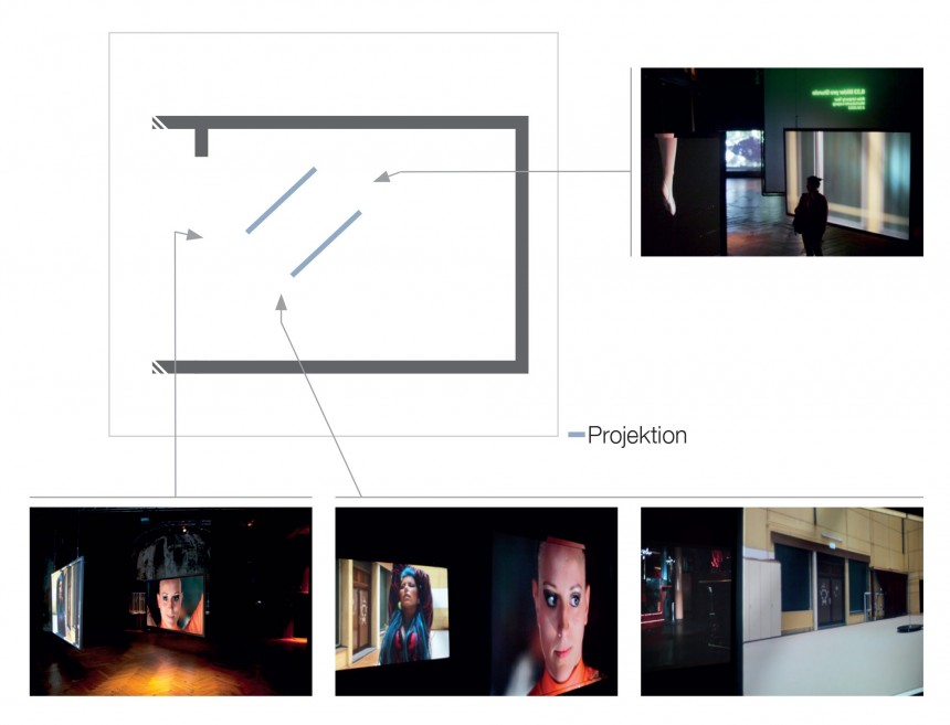 Grundriss Zwei-Kanal-Video/ -Sound Installation »Rotation«